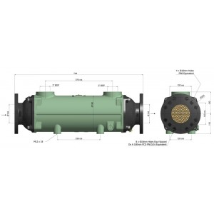 Теплообменник разборный BOWMAN  556 кВт, трубки купроникель