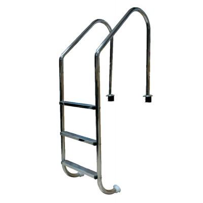 Лестница 2 ступ. с накладкой люкс, нерж. AISI-304 (широкий борт)