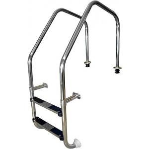 Лестница ML, перелив. желоба 2 ступ. с накладкой люкс, нерж. AISI-304