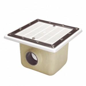 Донный слив квадратный 355х355 (полиэстер/стеклопластик)решетка ABS-пласт  подкл.110мм(пленка)